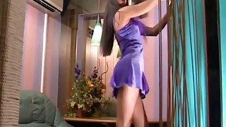 Sexy Asian slut in a hot striptease