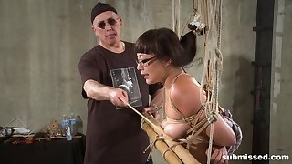 Asian babe with glasses Nyssa Nevers tied up and pussy abused hard