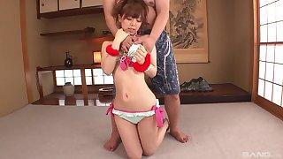 Desirable Asian chick deepthroats a hard dick after he touches her
