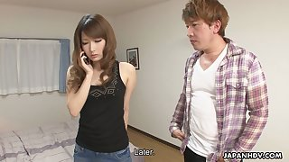 Attractive Asian chick Keiko Shinohara shows off her hairy creampied pussy
