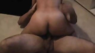 Asian looking nympho fucks two white cocks