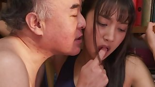 Jav babe An Tsujimoto gets abused by dirty old duffer in the college library
