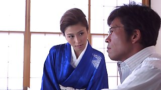 Undressing a hot tattooed doll Akari Asahina and fucking her