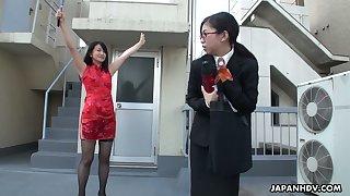 Sinful Asian chick Yuka Tsubasa gives footjob and blowjob