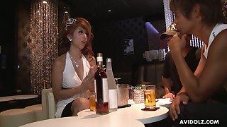Juggy Asian hooker Haru Sakuraba serves two dudes at the same time