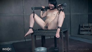 Asian MILF slave Mia Torro squirts while being abused