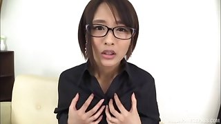 Hard toy is slipping up a Japanese bimbo's fuck tunnel