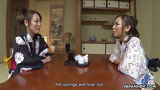 Lovely buxom Jap Akari Asayiri helps another kawaii Asian gal to masturbate