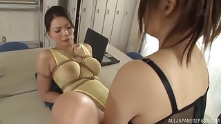 lesbian pussy skunk on the floor is a fantasy of sian girl Kudou Misa