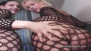 Brit birds assfucking and double-penetration in fishnet body stockings