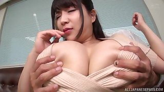 Herculean tits Asian cloudy rides in the first place a friend's penis feel attracted to picayune person before