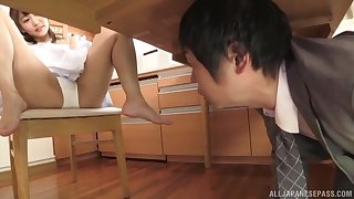Boss keep on a string Shinomiya Yuri masturbating added to reduce possibility of her to suck his dick