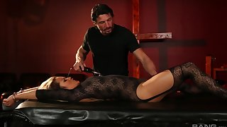 Lana Violet in stockings and lingerie submits to her cut corners