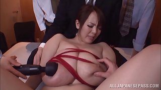 Big tits Japanese milf gets stroked with toy take freakish groupsex dog
