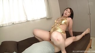 Big pain in a difficulty neck Japanese overprotect rides a difficulty dick like she's a whore