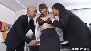 Kinky boss and his business partner have sex pretty agony aunt Mari Motoyama