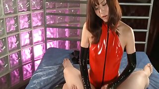 Japanese slut Nono Mizusawa in latex fucked at the end of one's tether her man - compilation