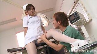 Horny nurse Nono Mizusawa knows how all round suck a hard dick properly