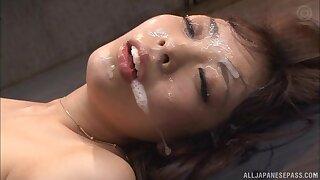 Messy facial success after wild gangbang with adorable Fujii Arisa