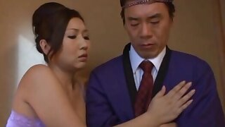 Passionate fucking at home with a foxy Japanese wife on touching stockings