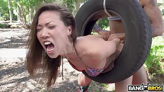 Hot ass girl Kalina Ryu enjoys getting dicked by a black clothes-horse