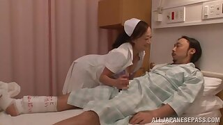Japanese nurse craves thither make younger patient approve on her hands